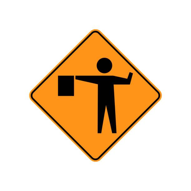 ilustraciones, imágenes clip art, dibujos animados e iconos de stock de señales de tráfico de tráfico de estados unidos. un señalador se coloca por delante a control usuario del camino. ilustración de vector - señalización vial