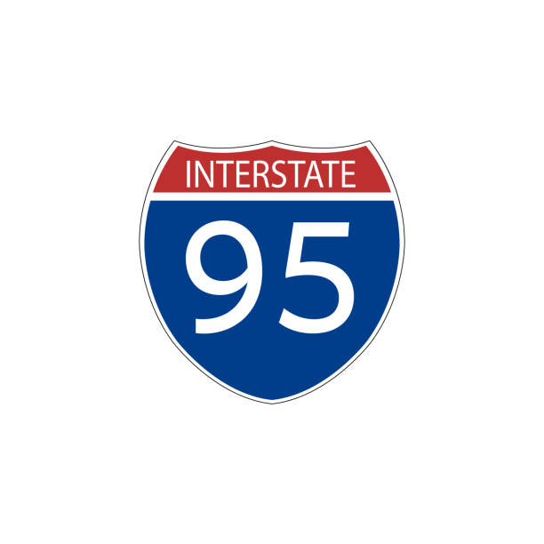 Señales de tráfico de tráfico de Estados Unidos. señal de ruta interestatal. Ilustración de vector - ilustración de arte vectorial