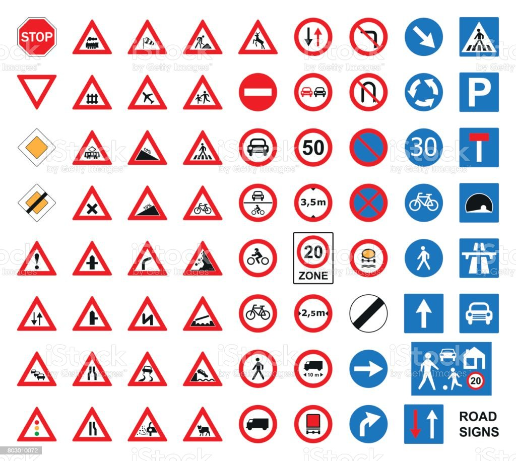 Traffic road signs set isolated on the white. Vector illustration. vector art illustration