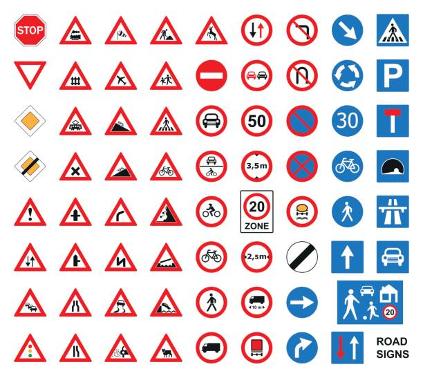 traffic road signs set isolated on the white. vector illustration. - signs and symbols stock illustrations