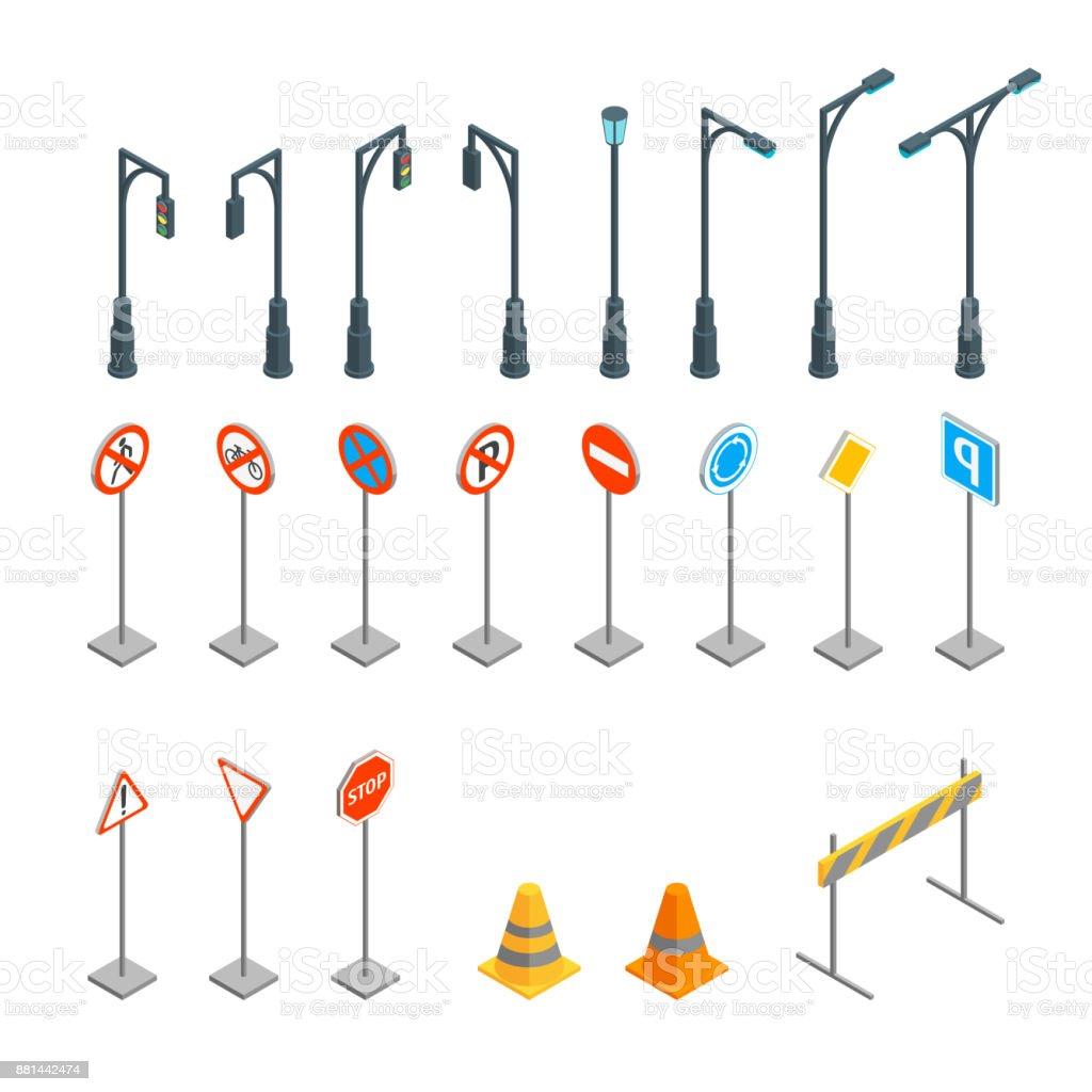 道路標識は、等角投影ビューを設定します。ベクトル ベクターアートイラスト