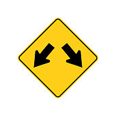USA traffic road signs. traffic is permitted to pass on either side of and island or obstruction . vector illustration