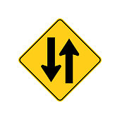 USA traffic road signs. two - way traffic ahead. vector illustration