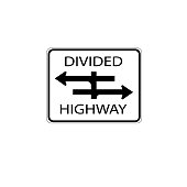 USA traffic road signs. you're approaching a four-legged intersection with a divided highway. vector illustration