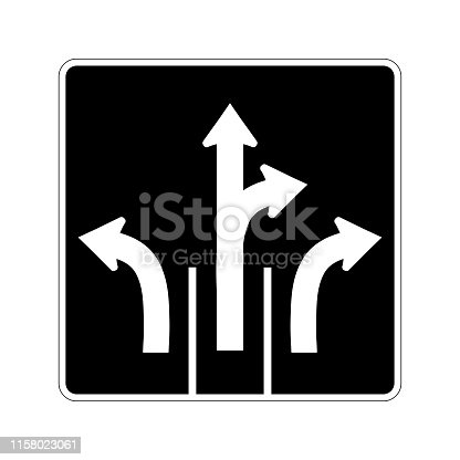 USA traffic road signs.these signs tell drivers the direction they must travel. vector illustration