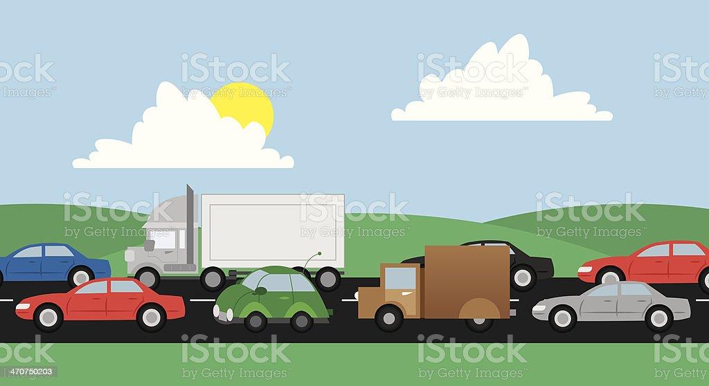 Traffic Road vector art illustration
