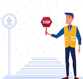 Traffic security guard in yellow vest with stop sign in front of the crosswalk. Pedestrian safety and traffic police concept. Vector flat design illustration on white background.