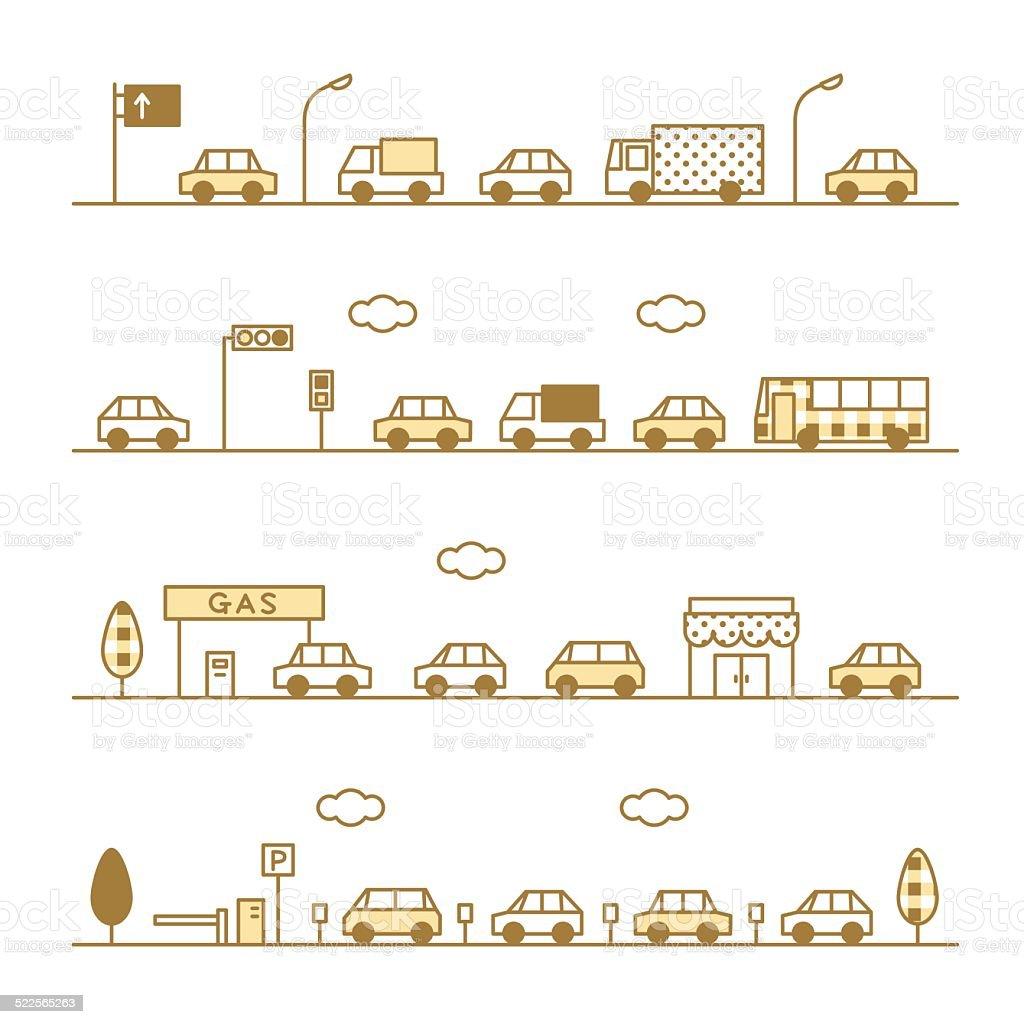traffic sepia color vector art illustration
