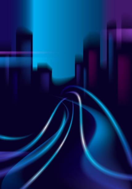 illustrations, cliparts, dessins animés et icônes de circulation des sentiers brillants de la route de la ville de nuit. effet vecteur beau fond. flou fond coloré foncé avec paysage urbain, bâtiments silhouettes skyline. - voiture nuit