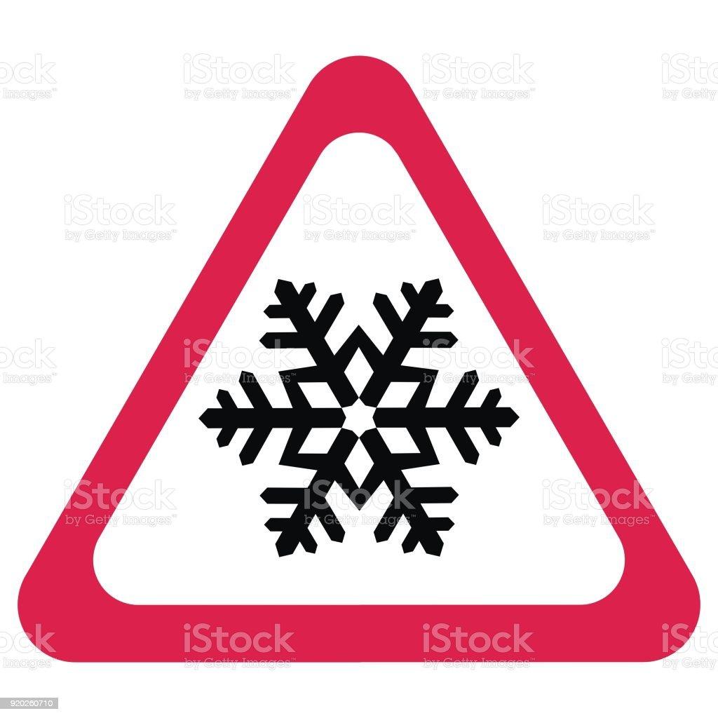 Traffic sign, frost alert vector art illustration