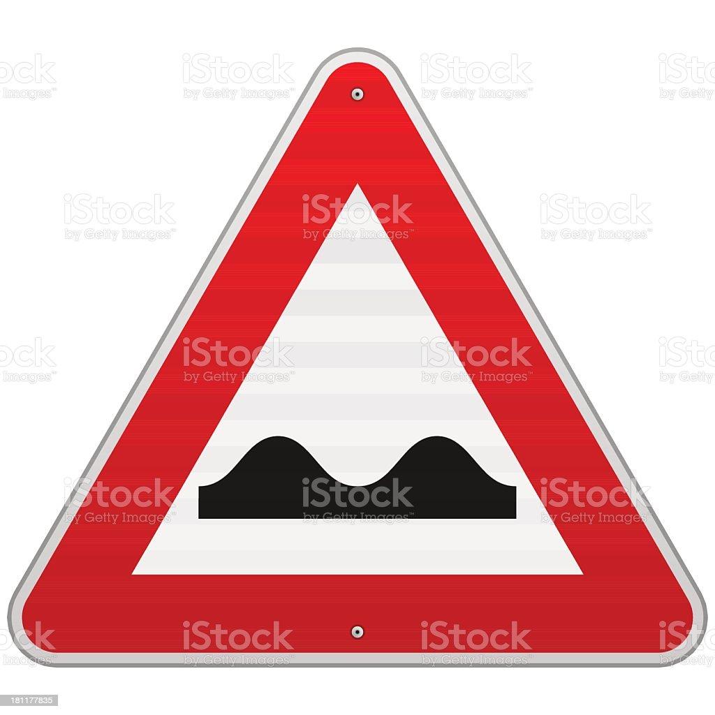 Traffic sign warning speed bumps vector art illustration