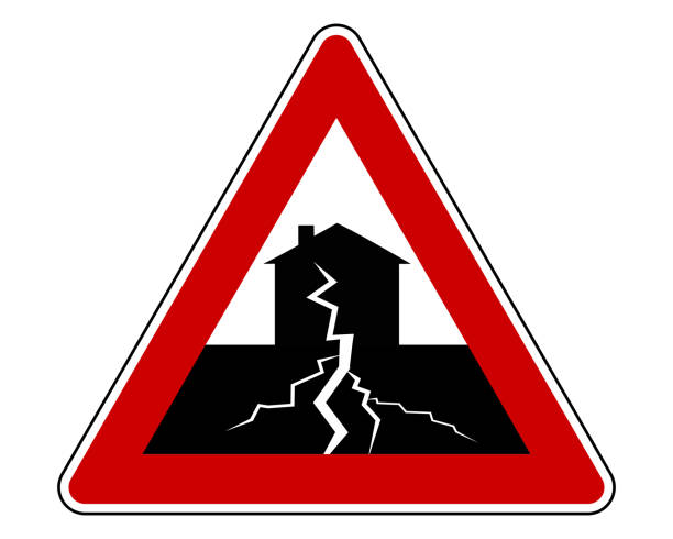 Traffic sign with earthquake Traffic sign with earthquake earthquake stock illustrations
