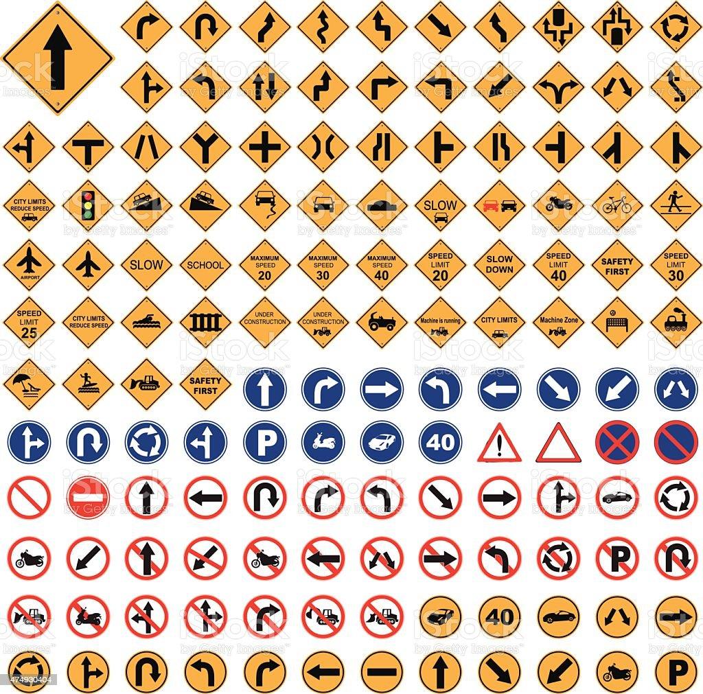 panneau de signalisation jaune rouge bleu signalisation routi re set vector illustration. Black Bedroom Furniture Sets. Home Design Ideas