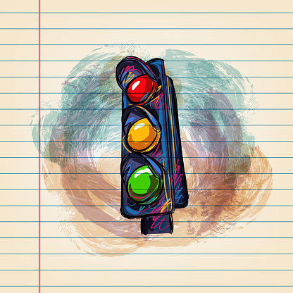 Traffic Signal Drawing on Ruled Paper