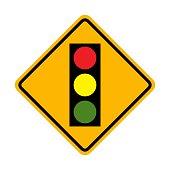 Traffic signal, lights ahead road sign