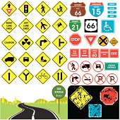 Selection of the most popular traffic signs.