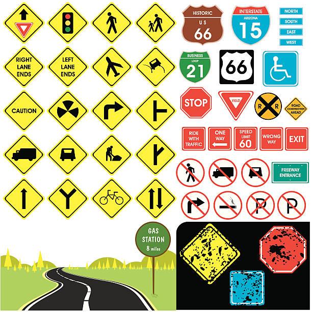ilustraciones, imágenes clip art, dibujos animados e iconos de stock de señales de tráfico - señalización vial
