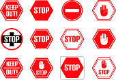 Traffic stop, restricted and dangerous vector signs isolated. Illustration of traffic road and stop symbol, warning and attention for your web design