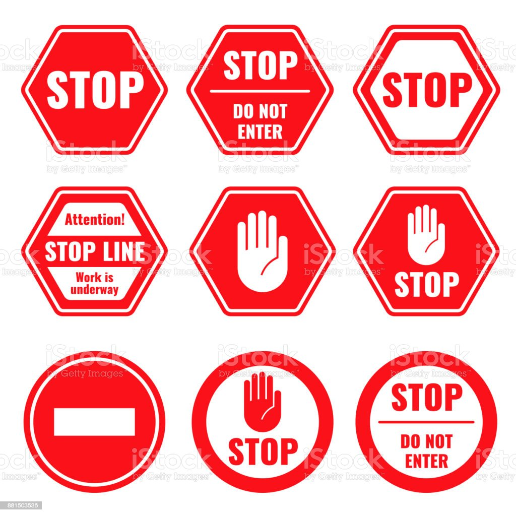 Traffic stop, restricted and dangerous vector signs isolated