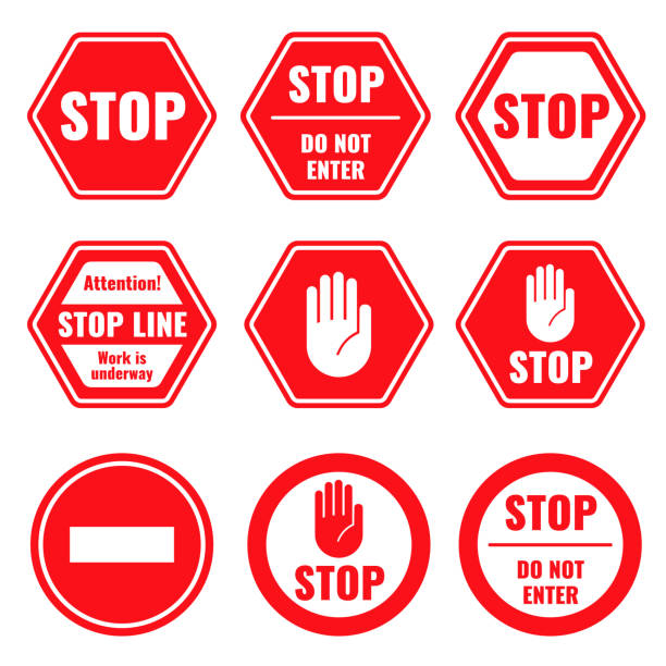 Traffic stop, restricted and dangerous vector signs isolated Traffic stop, restricted and dangerous vector signs isolated. Illustration of traffic road and stop symbol, warning and attention stop stock illustrations