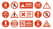 istock Traffic stop signs. Do not enter, warning traffic road sign. Stop, no admittance, prohibitory character street driving directions vector isolated icon set 1205811831