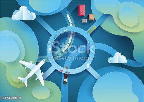 Kreisverkehr, Bahnstrecke, Fluss, Flugzeug von oben - Vogelperspektive