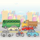 A traffic in urban scene.