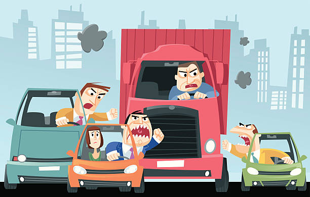 Traffic vector art illustration