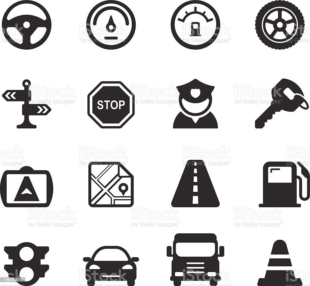 Traffic/Driving Icons vector art illustration