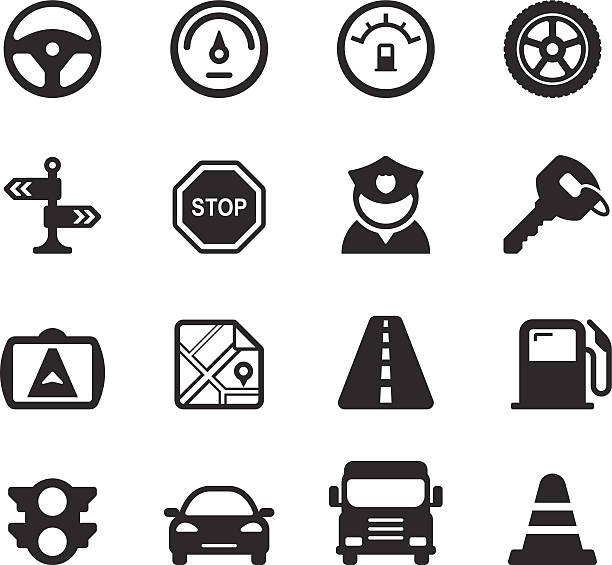 Traffic/Driving Icons Traffic/Driving Icons  on white background. uniform cap stock illustrations