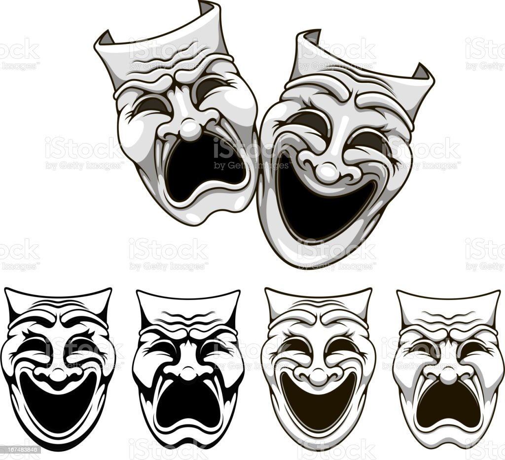 Tragedy and comedy theater masks vector art illustration