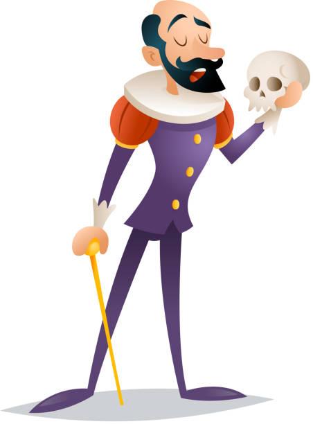 stockillustraties, clipart, cartoons en iconen met tragic actor theater stage man medieval suit retro cartoon character - acteur