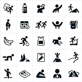 A set of icons related to trail and road running. The icons include runners, trails, trail running, water, nutrition, racing, course, race gear, finish line, stretching and training to name a few.
