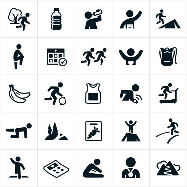 bildbanksillustrationer, clip art samt tecknat material och ikoner med trail och vägspring ikoner - jogging hill