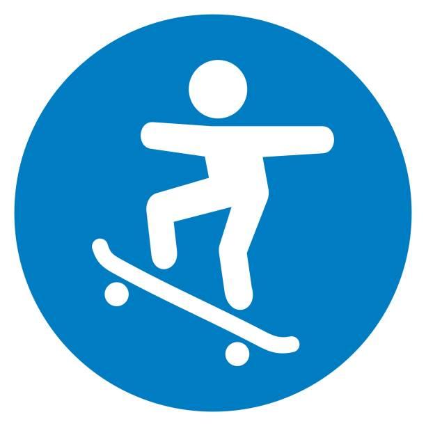 bildbanksillustrationer, clip art samt tecknat material och ikoner med leden för skateboardåkare, trafik tecken, vektor symbol - skatepark