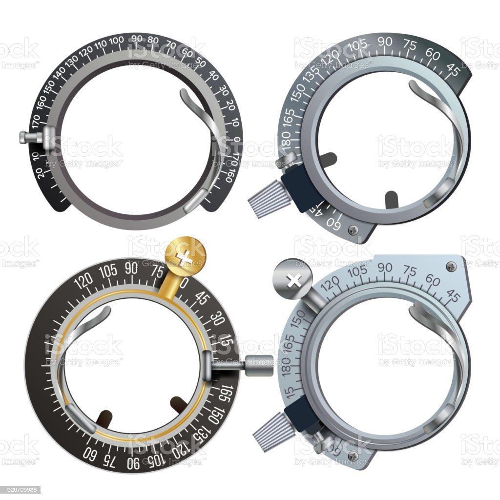 Frame Set Vector Trail. Im Gesundheitswesen Dioptrien Instrument. Medizinischer Geräte isoliert Illustration – Vektorgrafik
