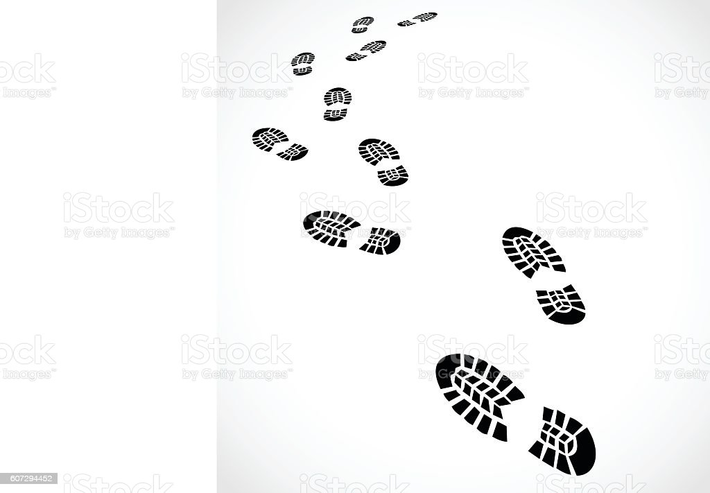 Trail of a sport shoes prints vector illustration