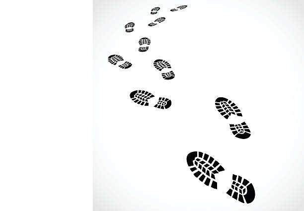 Trail of a sport shoes prints vector illustration Trail of a sport shoes prints  - vector illustration isolated on white background stepping stock illustrations