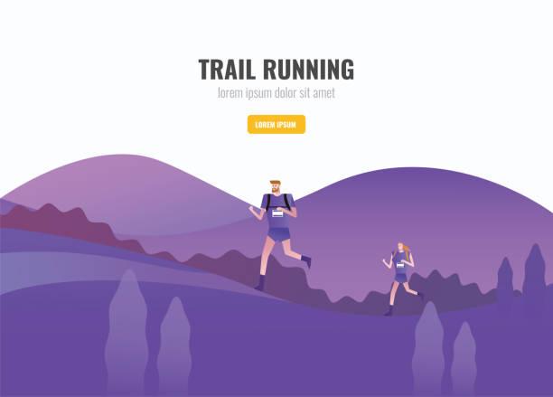 bildbanksillustrationer, clip art samt tecknat material och ikoner med trail runner av män och kvinnor kör på berget. vacker natur bakgrund. vektorillustration - jogging hill