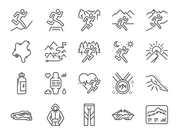 Trail running line icon set. Included icons as runner, sport, healthy, mountain course, marathon and more. Trail running line icon set. Included icons as runner, sport, healthy, mountain course, marathon and more. cross country running stock illustrations