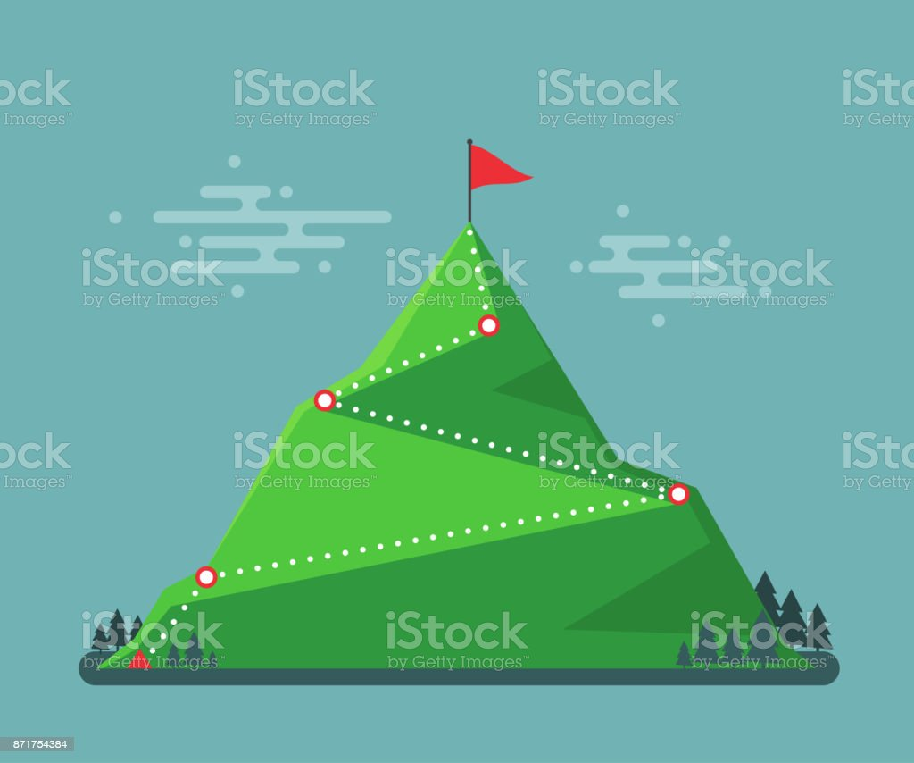 Trail to winner. Climbing hiking. Flag on the mountain peak. Way to successful Business. Vector illustration royalty-free trail to winner climbing hiking flag on the mountain peak way to successful business vector illustration stock illustration - download image now