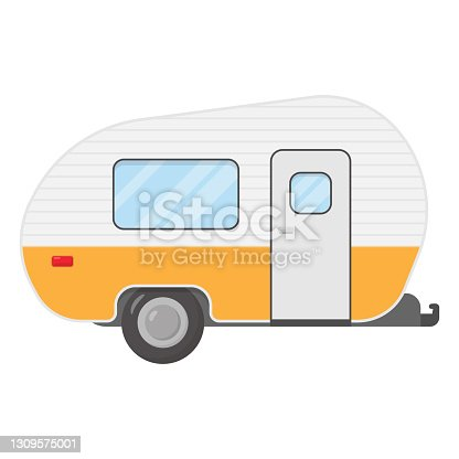 istock Trailer caravan, motorhome, mobile home for country vacation. Side view camping trailers 1309575001