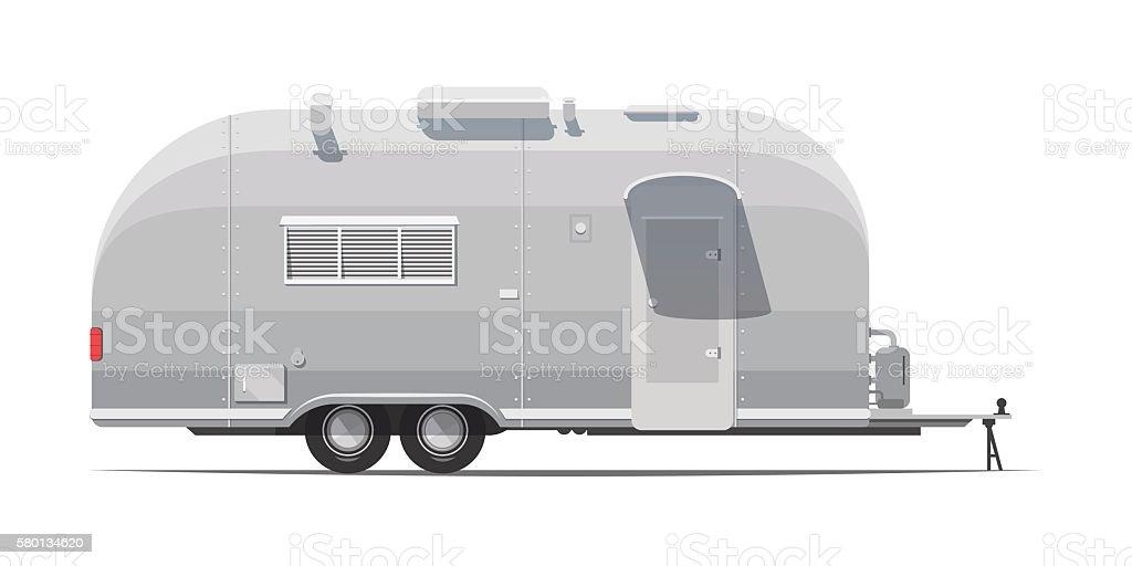 trailer for tourism retro vector art illustration