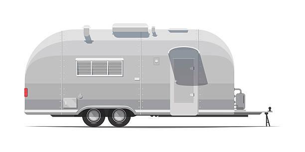 trailer for tourism retro Grey trailer for tourism retro style. Classic 1970 motor home stock illustrations