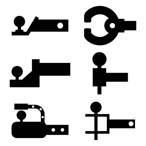 trailer hitch siyah siluet. çekme çubuğu vektör simgeleri beyaz bir arka planda izole ayarlayın. - mountain top stock illustrations