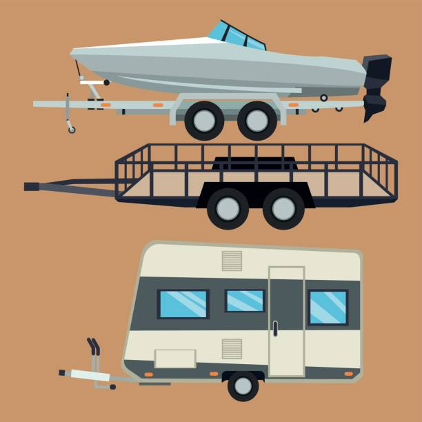 Trailer house and boat design vector art illustration