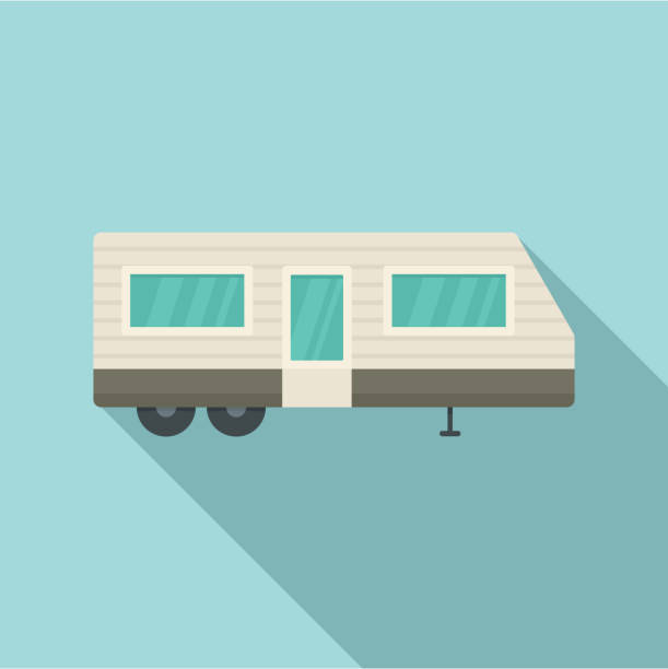trailer house icon, flat style - caravan stock illustrations