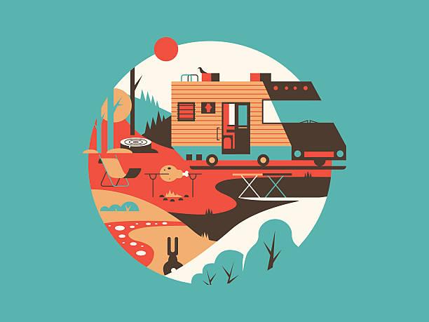 Trailer machine house Trailer machine house. Transport travel for vacation, home on wheel, vector illustration rv interior stock illustrations