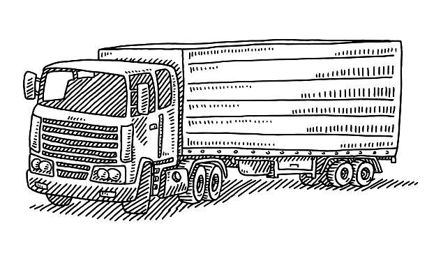 Trailer Truck Drawing Hand-drawn vector drawing of a Trailer Truck. Black-and-White sketch on a transparent background (.eps-file). Included files are EPS (v10) and Hi-Res JPG. transportation stock illustrations