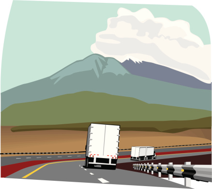 Trailer truck on road